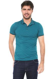Camisa Polo Malwee Slim Quadrados Verde