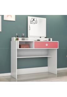 Penteadeira 1 Gaveta Com Espelho Jasmin 143 X 105 X 45 Branco/Rosa - Demóbile
