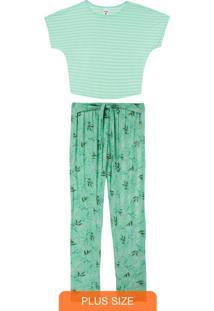 Pijama Verde Água Estampado Com Linho Plus