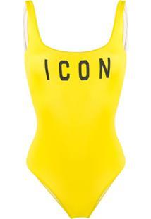 Dsquared2 Beachwear Maiô Com Estampa Icon - Amarelo