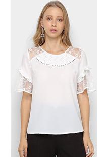 Blusa Lemise Renda Stripe Trançado Babado Feminina - Feminino-Branco