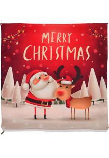 """Capa Para Almofada """"Merry Christmas""""- Vermelha & Branca"""