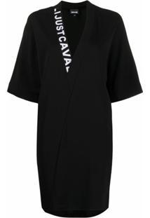 Just Cavalli Vestido Mini Com Logo - Preto