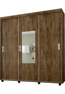 Guarda-Roupa Casal 3 Portas Com Espelho Valença - Bechara - Madeira Rustica
