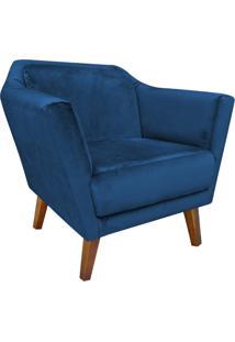 Poltrona Decorativa Lorena Veludo Peach Azul Marinho - D'Rossi