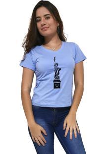 Camiseta Feminina Gola V Cellos New York Premium Azul Claro