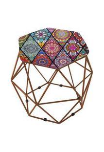 Puff Aramado Bronze Assento Hexagonal Suede Mandala Vermelho - Ds Móveis