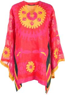 Vita Kin Muscat Short Kaftan Dress - Vermelho