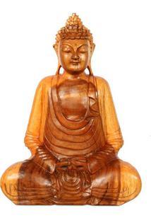 Escultura Buda Meditando Em Madeira 40Cm   Bali