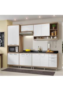 Cozinha Completa Com Balcão Com Tampo 6 Peças 11 Portas Sicília Multimóveis Argila/Branco