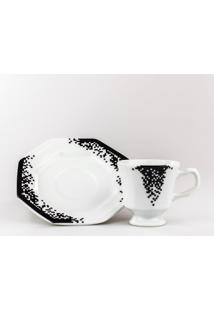 Conjunto De Xícaras Para Café C/ Pires Porcelana Schmidt 06 Peças - Dec. Pixel