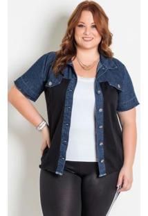 fda2a682ec ... Camisa Jeans Preta Com Botões Plus Size