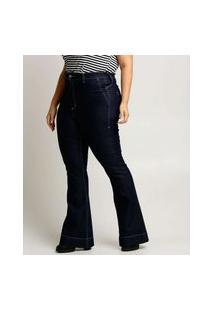 Calça Plus Size Feminina Flare Uber Jeans