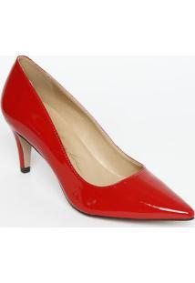 Scarpin Liso Com Recorte- Vermelho- Salto: 7Cmluiza Barcelos
