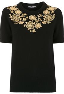 Dolce & Gabbana Blusa De Tricô Com Bordado - Preto