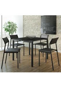 Mesa 1525 Preta Com 4 Cadeiras 1709 Color Uv Preta Carraro