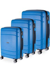 Conjunto Malas De Viagem Londres Em Polipropileno Gosuper Rodinhas Duplas Giro 360º 3 Peças Azul