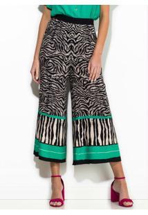 Calça Pantacourt De Crepe Estampa Zebra Preta
