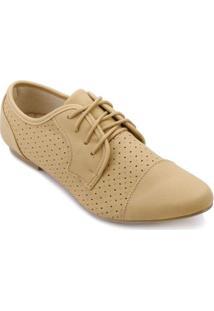 Sapato Facinelli Oxford Micro Furos Feminino - Feminino-Bege