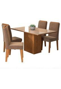 Conjunto De 4 Cadeiras Para Sala De Jantar 130X80 Ana/Tais-Cimol - Savana / Off White / Pluma