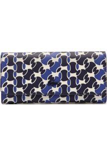Carteira Lacoste Estampa Logo Azul/Branca