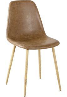 Cadeira Tania Pu Marrom Vintage Base Clara Rivatti Móveis