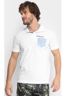 Camisa Polo Rg 518 Piquet Bolso Jeans Masculina - Masculino-Branco