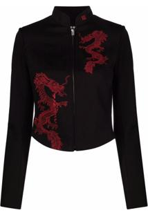 Misbhv Dragon-Motif Fitted Jacket - Preto