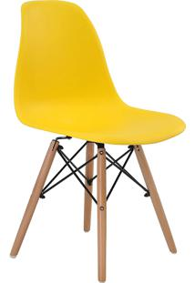 Cadeira Adulto Eiffel S/ Braço Amarela Base Em Madeira Rivatti Móveis