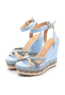 Sandália Anabela Salto Alto Em Napa Azul Serenety Detalhes Em Trança Azul