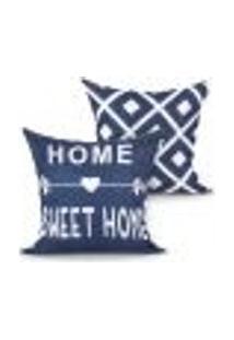 Capa Almofada Home Sweet Home Azul Estampada Kit Com 2 Unidades 45Cm X 45Cm Com Zíper