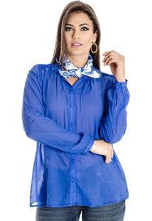 Camisa Com Lenço Cantão - Feminino-Azul