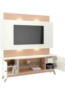 Rack Com Painel 58 Polegadas Com Led Gogh Ii Off White E Natural 180 Cm