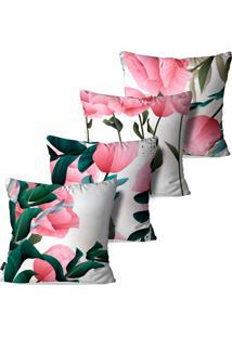 Kit Com 4 Capas Pump Up Para Almofadas Decorativas Flores Galhos E Folhas 45X45Cm