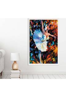 Quadro Love Decor Com Moldura Bailarina Branco Grande