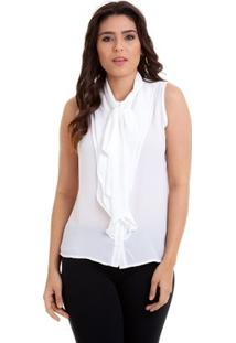 Camisa Regata Babados Laço Na Gola Kinara Feminina - Feminino-Branco