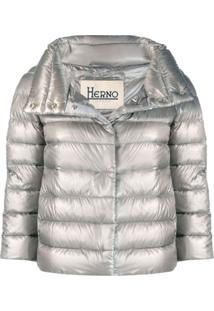 Herno Cropped Zip-Up Jacket - Cinza