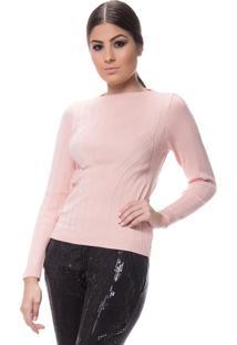 Blusa Logan Tricot Feminina Textura Modal Rosa