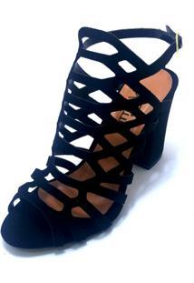 Sandalia Salto Alto Pizaflex Gladiadora Feminina - Feminino-Preto