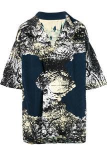 Homme Plissé Issey Miyake Pleated Short-Sleeve Coat - Azul