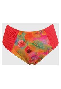 Calcinha Banho De Mar Moda Praia Hot Pant Drapee Laranja