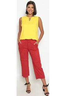 Blusa Lisa Com Recorte Vazado- Amarela- Vip Reservavip Reserva