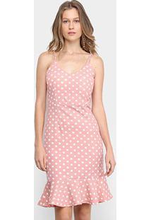 Vestido Edivi Curto Alças Finas Poá - Feminino-Rosa