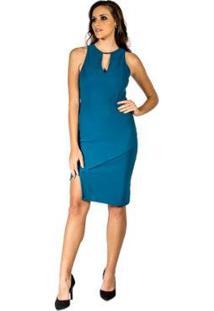 Vestido Slim Canelado Colcci Feminino Azul