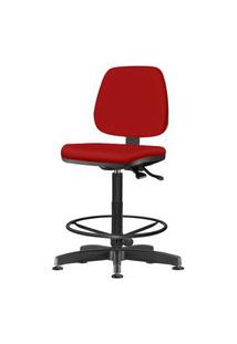 Cadeira Job Assento Courino Vermelho Base Caixa Metalica Preta - 54539 Vermelho