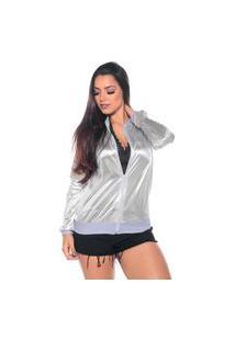 Jaqueta Bomber M&A Modas Metalizada Branca