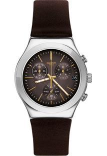 Relógio Swatch Masculino Couro Marrom - Ycs600