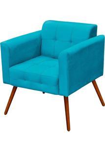 Poltrona Decorativa Elisa Suede Azul Tiffany Pés Palito Condor