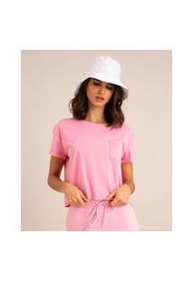 Camiseta Cropped De Algodão Básica Com Bolso Manga Curta Decote Redondo Rosa 1