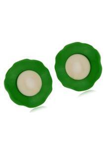 Brinco Le Diamond Flor De Acrílico Verde E Branco